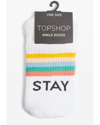 TOPSHOP - 'stay Sick' Slogan Tube Socks - Lyst