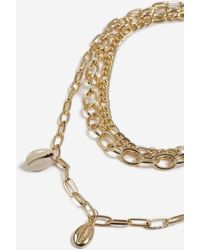 TOPSHOP - Shell Drop Multirow Necklace - Lyst
