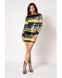 Club L - Sequin Striped Mini Bodycon Dress By - Lyst