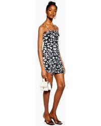 e7de76d1c194b TOPSHOP - Onochrome Animal Ruched Mini Dress - Lyst