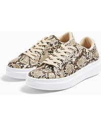 TOPSHOP Cuba Snake Print Lace Up Sneakers - Natural