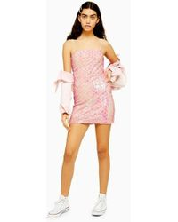 0a505f7a TOPSHOP Layered Fringe Mini Shift Dress By Rare in Pink - Lyst