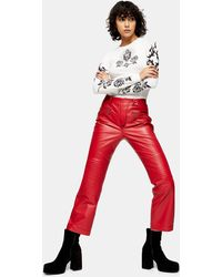 TOPSHOP idol Red Real Leather Biker Pants