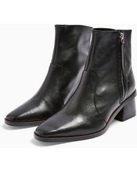 TOPSHOP Argot Leather Mid Boots - Black
