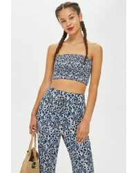 Band Of Gypsies - Printed Shirred Bandeau Top By - Lyst