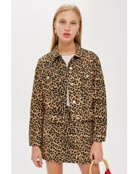 TOPSHOP - Leopard Fitted Denim Jacket - Lyst