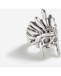 TOPSHOP statement Skull Head Ring - Metallic