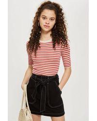 TOPSHOP - Belted Denim Skirt - Lyst