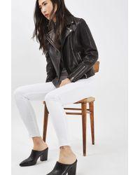 TOPSHOP - Moto White Let Hem Leigh Jeans - Lyst