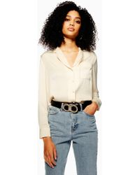 Lyst - TOPSHOP Poplin Ruffle Frill Shirt in White d6b0540eb