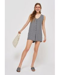 TOPSHOP - Petite Gingham Playsuit - Lyst