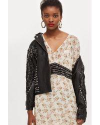 TOPSHOP - Embellished Waist Midi Dress - Lyst