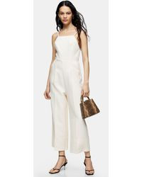 TOPSHOP Ivory Cross Back Strappy Jumpsuit - White