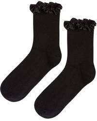 TOPSHOP - Satin Trim Ankle Socks - Lyst