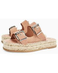 TOPSHOP Palm Taupe Espadrille Sandals - Brown