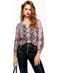 TOPSHOP - Petite Pink Snake Shirt - Lyst