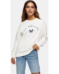 TOPSHOP Petite White Papillon Sweatshirt