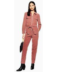TOPSHOP - Pink Corduroy Boilersuit - Lyst
