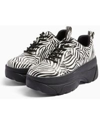 TOPSHOP Cali Black And White Zebra Print Chunky Trainers