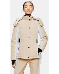 TOPSHOP stone Colour Block Ski Jacket By Sno - Natural