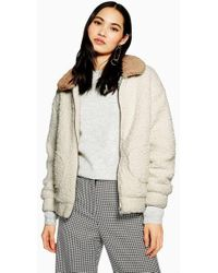 TOPSHOP - Two Tone Teddy Coat By Native Youth - Lyst