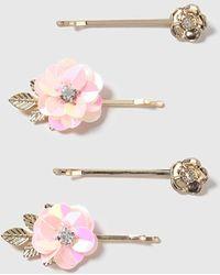 TOPSHOP - Sequin Flower Clip Pack - Lyst