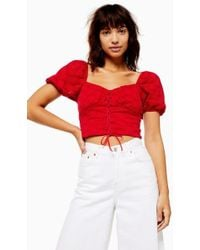 a870c59c174 TOPSHOP Cropped Velvet Top By Glamorous in Pink - Lyst