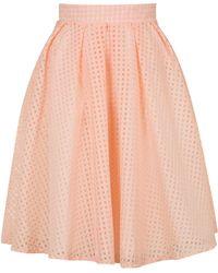 Wal-G - Organza Gingham Midi Skirt By - Lyst