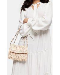 TOPSHOP Fiji Straw Weave Cross Body Bag - Natural