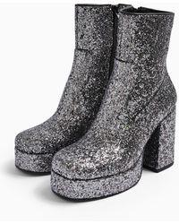 TOPSHOP Hogan Silver Platform Boots - Metallic