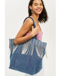 TOPSHOP - Denim Fringe Shopper Bag - Lyst