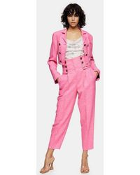 TOPSHOP Idol High Waisted Peg Trousers - Pink
