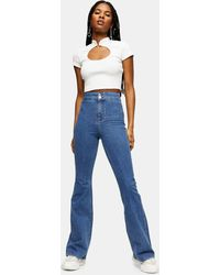 TOPSHOP Considered Three Stretch Flare Jeans - Blue