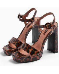 TOPSHOP Saturn Leopard High Platform Shoes - Brown