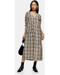 TOPSHOP Beige Seersucker Check Midi Dress - Natural