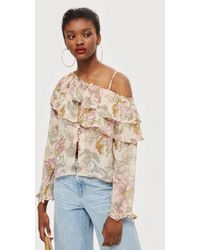 579486e35904d9 TOPSHOP - Floral Frill Off-shoulder Top - Lyst