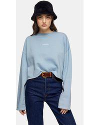 TOPSHOP Blue Paris Raw Hem Sweatshirt