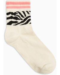 TOPSHOP - Zebra Neon Tube Socks - Lyst