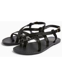 TOPSHOP Hiccupleather Sandals - Black