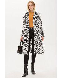 TOPSHOP - Zebra Print Duster Jacket - Lyst