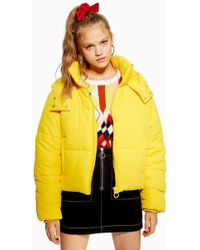 TOPSHOP - Yellow Hooded Puffer Jacket - Lyst
