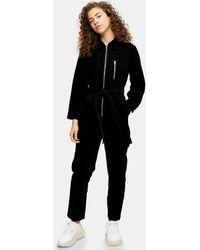 TOPSHOP Petitecorduroy Boiler Suit - Black