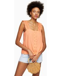 TOPSHOP Coral Button Frill Cami - Orange