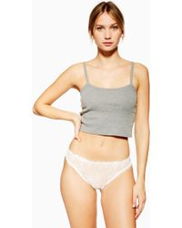 TOPSHOP Off White Ruffle Lace Mini Panties
