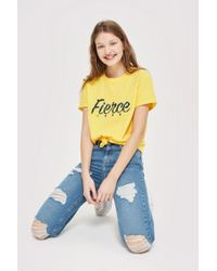 TOPSHOP - Moto Mid Blue Super Ripped Jamie Jeans - Lyst