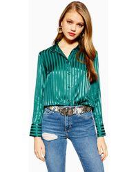 TOPSHOP - Tall Self-stripe Shirt - Lyst