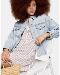 TOPSHOP Raw Denim Oversized Jacket - Blue