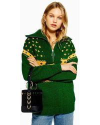 TOPSHOP - Fair Isle Zip Collar Sweater - Lyst