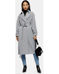 TOPSHOP Check Trench - Gray