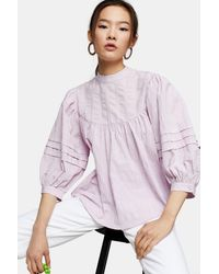 TOPSHOP Lilac Textured Chuck On Blouse - Purple